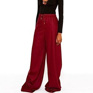 Plum Wide Leg Pants Oversized Style